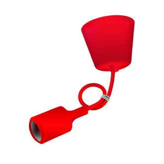 Monture silicone rouge cable 60cm douille E27