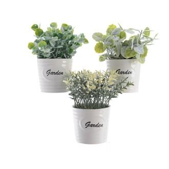 Plantes artificielles avec pot en céramique blanc variétés assorties