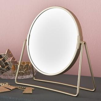 Miroir grossissant rond en métal doré  double face X5 diamètre 16cm