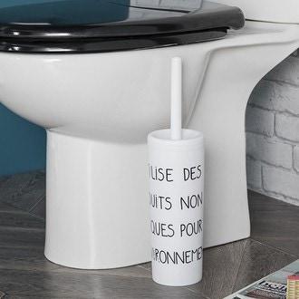 Brosse wc et socle en plastique blanc typo