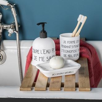 Porte savon en plastique blanc typo