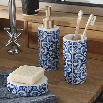 Distributeur de savon en céramique imprimée bleu Porto