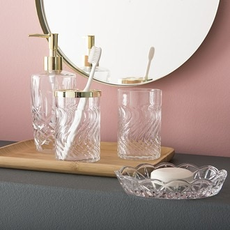 Distributeur de savon en verre transparent Diamante