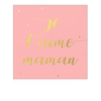 Carte pola colorchic je t'aime maman 10x12cm texte doré