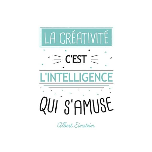 Carte écriture typographique La créativité blanche 15x21cm