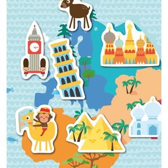 Boite magnetique carte du monde 40 pièces