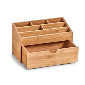 Rangement pour maquillage en bambou - 6 compartiments et 1 tiroir - 25,4x12,5x15