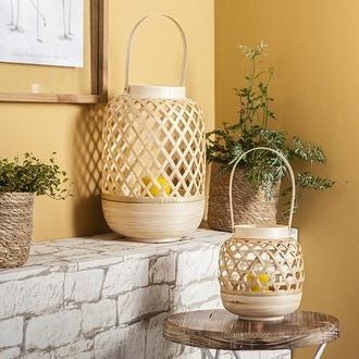 Lanterne bambou blanc ou naturel avec anse 15x16cm