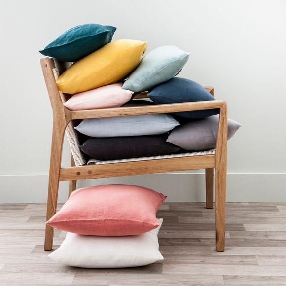Fodera per cuscino rettangolare in lino bianco 30x50cm