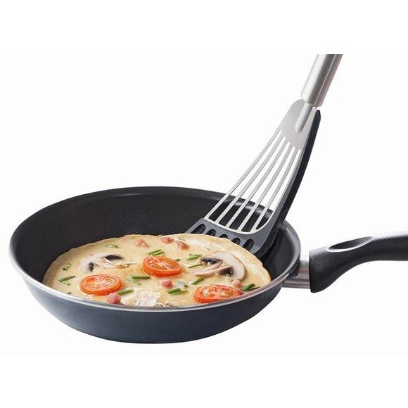 Spatola da cucina in acciaio inox con bordo in silicone da 31,5cm
