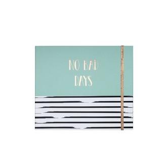 Grand Kit semainier vert rayé noir No Bad days avec notes adhesives