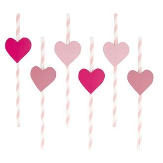 12 pailles cœurs roses