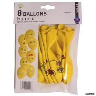 8 Ballons jaunes motif Humeur ø25cm