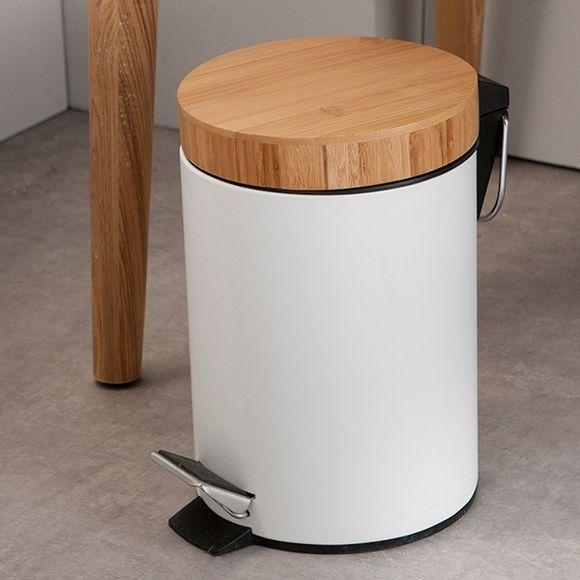 Poubelle de salle de bain en métal et bambou 3L