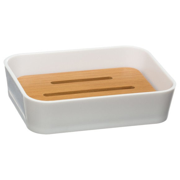 acquista online Portasapone bianco e bambù