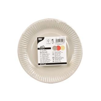 40 assiettes rondes rouge, crème, gris 19 cm