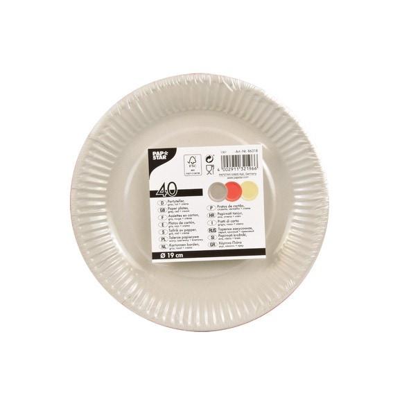 Achat en ligne 40 assiettes rondes rouge, crème, gris 19 cm