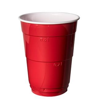 10 verres à bière rouge et blanc 40cl