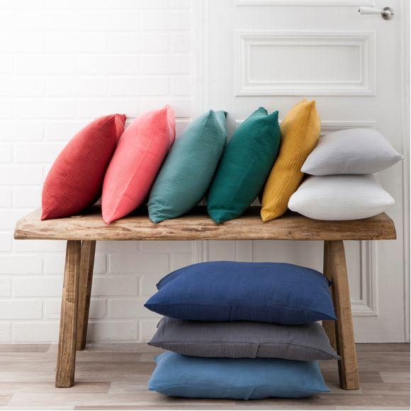 Fodera per cuscino in doppia garza di cotone bianco  40x40cm