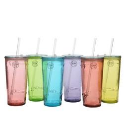 compra en línea Vaso grande de cristal reciclado con tapa y pajita (50 cl)