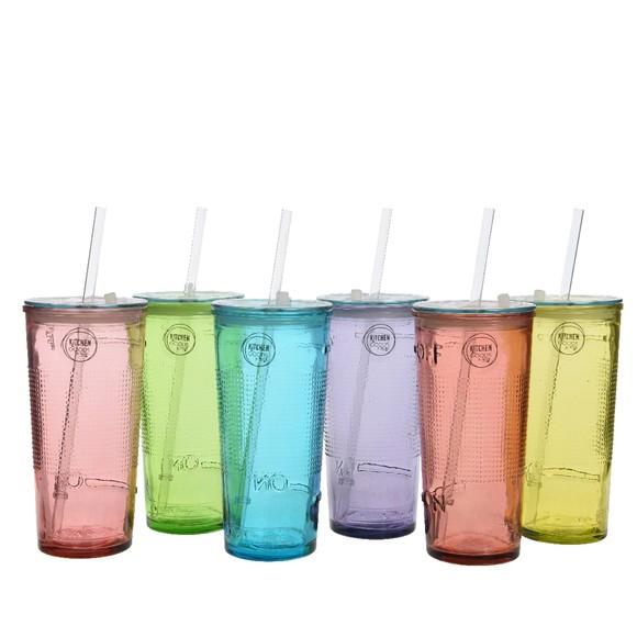 Vaso grande de cristal reciclado con tapa y pajita (50 cl)