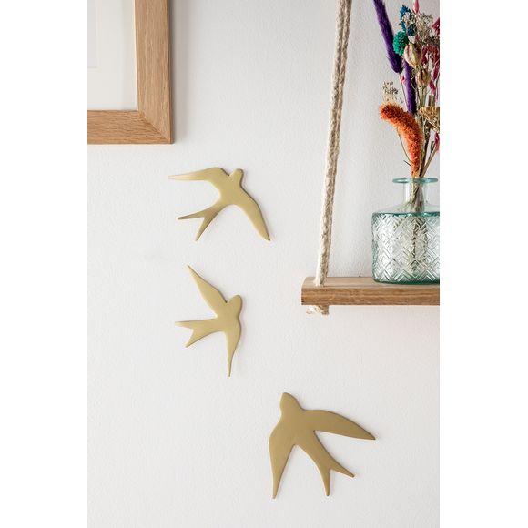 3 oiseaux métal doré 15x14-15x10-15x8cm