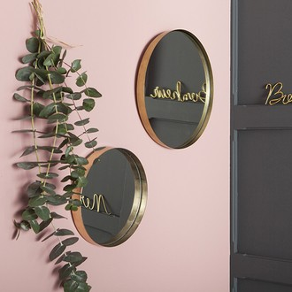 Miroir rond bord recourbé métal doré 43cm