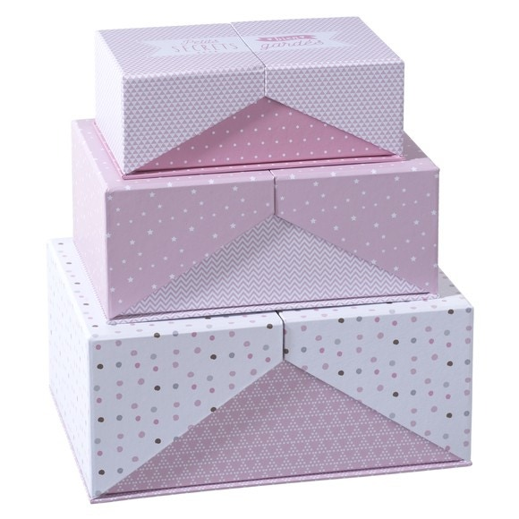 Boîte carton surprise rose x3