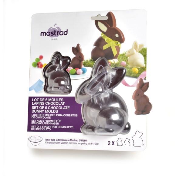 Set di 6 stampi coniglietti di cioccolato (4 piccoli, 2 grandi)