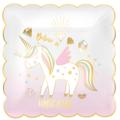 8 assiettes festonnées believe in unicorn 19x19cm