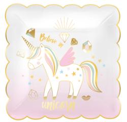 acquista online Piatti da festa unicorno 19x19cm, 8 pz