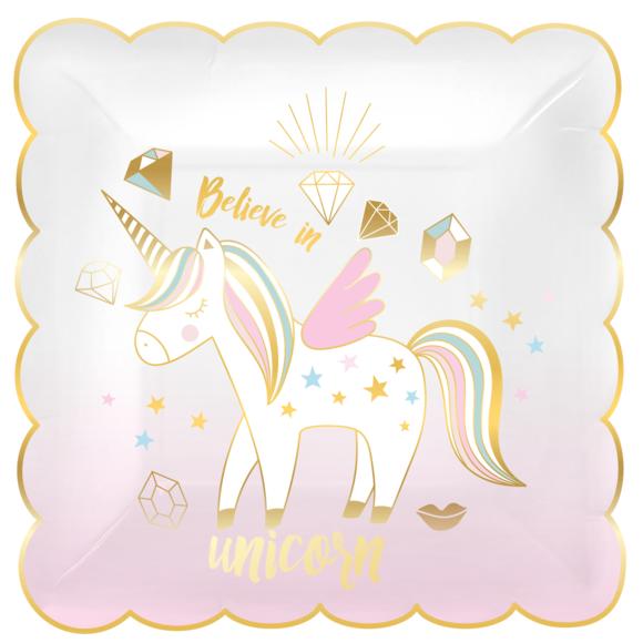 Achat en ligne 8 assiettes festonnées believe in unicorn 19x19cm