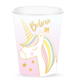 10 gobelets en carton believe in unicorn 25cl