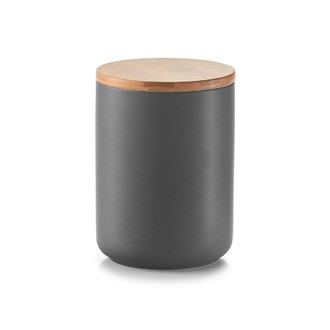 Barattolo in ceramica con coperchio bamboo, antreacite, 650 ml