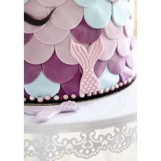 Décor en sucre queue de sirène rose et violet
