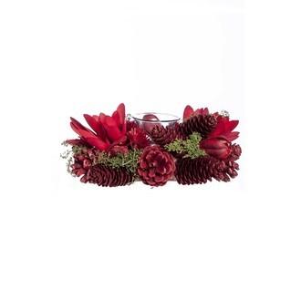 Couronne centre de table pommes de pins rouge avec un support bougie chauffe plat 21cm
