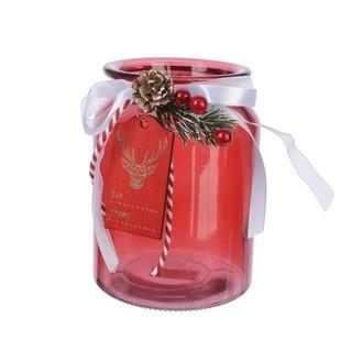 Photophore en verre rouge avec petit nœud blanc et pomme de pin