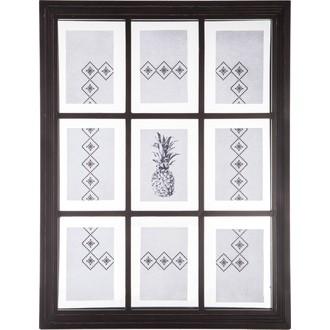 Pêle-mêle photo fenêtre 9 vues entre 2 verres noir