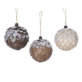 Suspension de Noël boule à écailles en bois pailleté