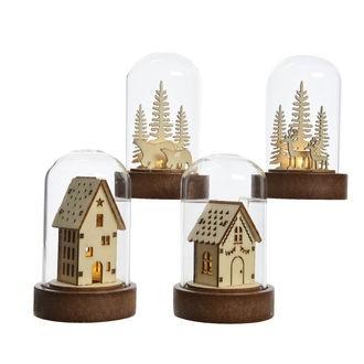 Décoration de Noël mini cloche lumineuse LED avec scénette bois ø5.5x9cm