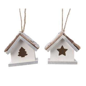 Suspension de Noël maison enneigée en bois