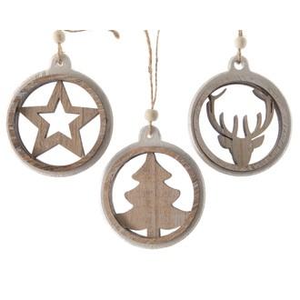 Lot de 2 suspensions de Noël rondes bois découpé contour blanc