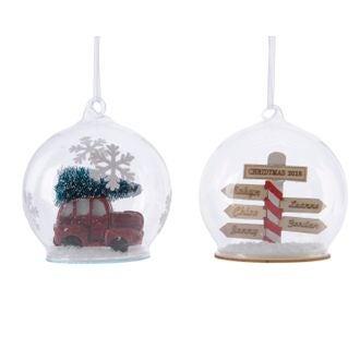 Suspension de Noël boule en verre avec scénette panneaux/voiture