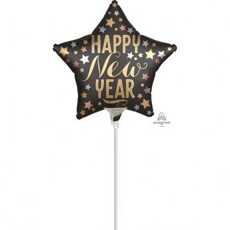 Ballon mylar gonflé sur baton étoile noire Happy New Year