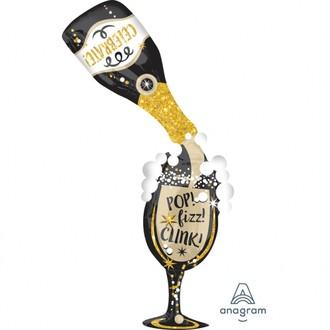 Ballon mylar à gonfler bouteille de champagne avec verre