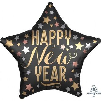 Ballon mylar à gonfler étoile noire happy new year