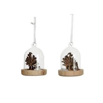 Suspension de Noël cloche en verre socle en bois avec scénette oiseau/hibou