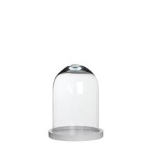 Achat en ligne Cloche décorative en verre socle bois blanc Hella 17,5xh23cm
