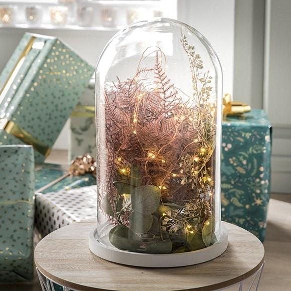 Achat en ligne Cloche décorative en verre socle bois blanc Hella 21,5xh30cm