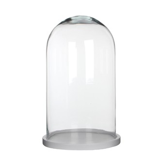 Cloche décorative en verre transparent socle bois blanc Hella ø23,5xh38cm